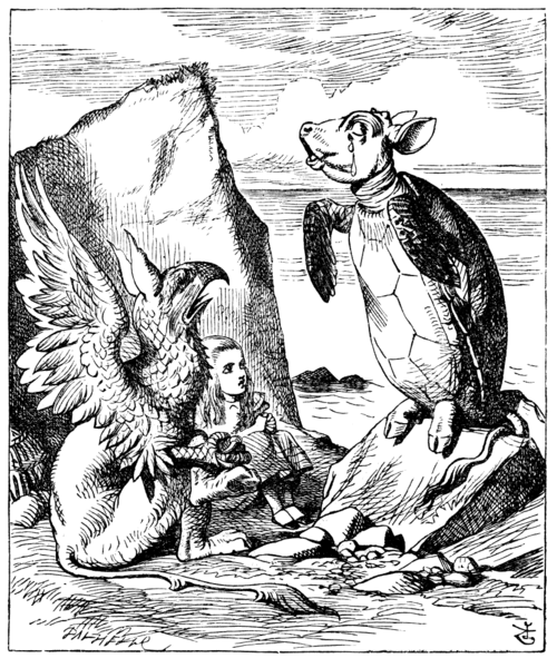 Tenniel's drawing of the Mock Turtle - a visual pun