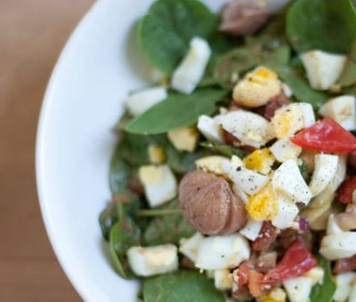 Spinach Salad with Creamy Avocado Dressing