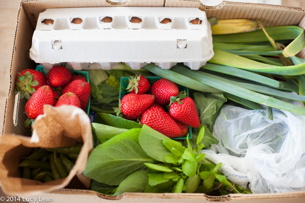 CSA Box delivered with strawberries, eggs, greens, leeks, snap peas, cauliflower, watercress