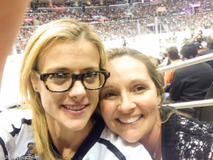 Krissy Lefebvre and Lucy Lean at Staples Center for Kings game