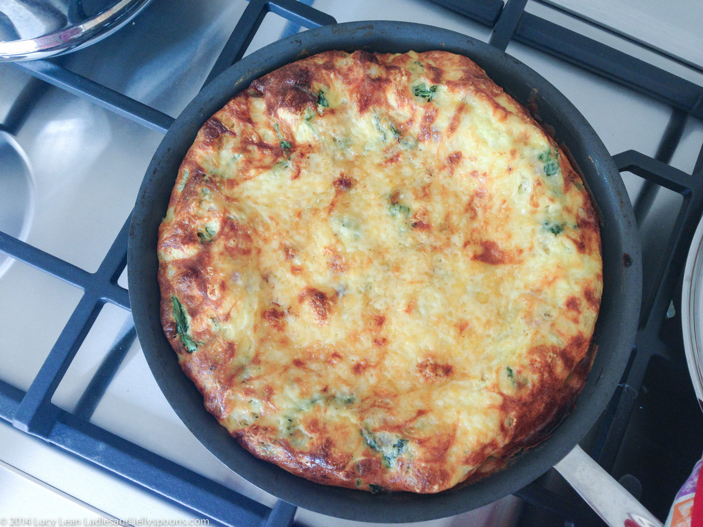 arugula, pancetta, onion frittata