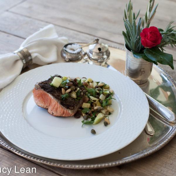Ottolenghi – Bridget Jones' grilled salmon with pine nut salsa